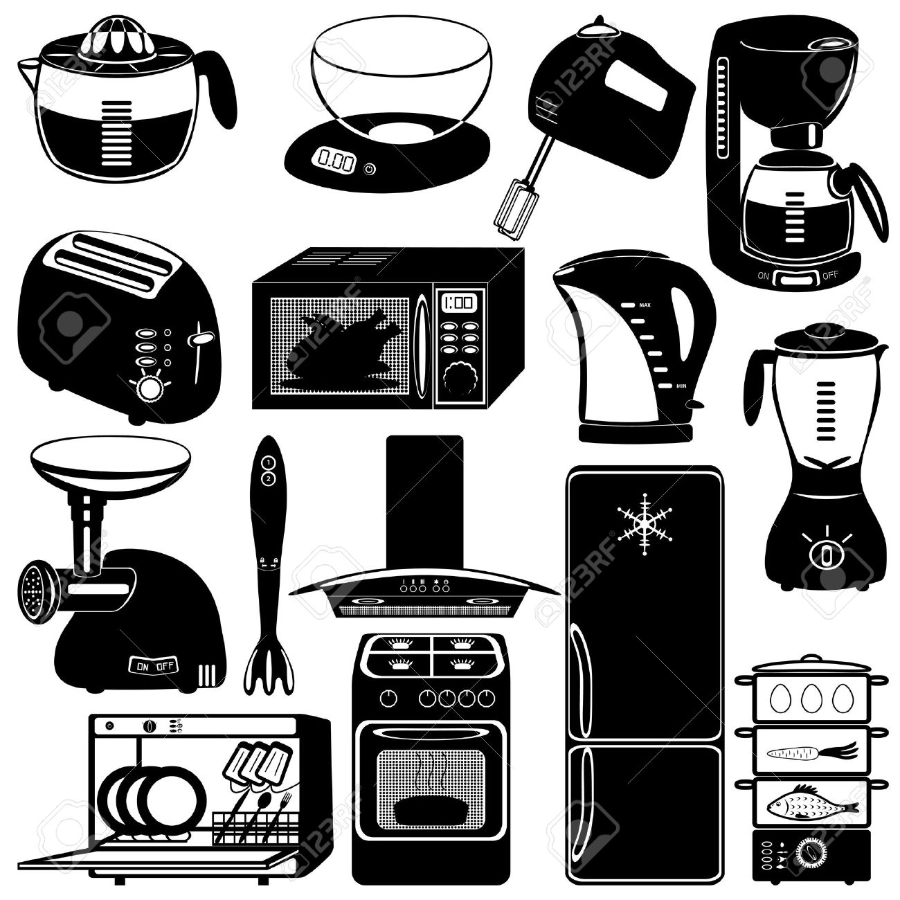 Of Kitchen Appliances Collection Of Kitchen Appliances On White Background Royalty Free