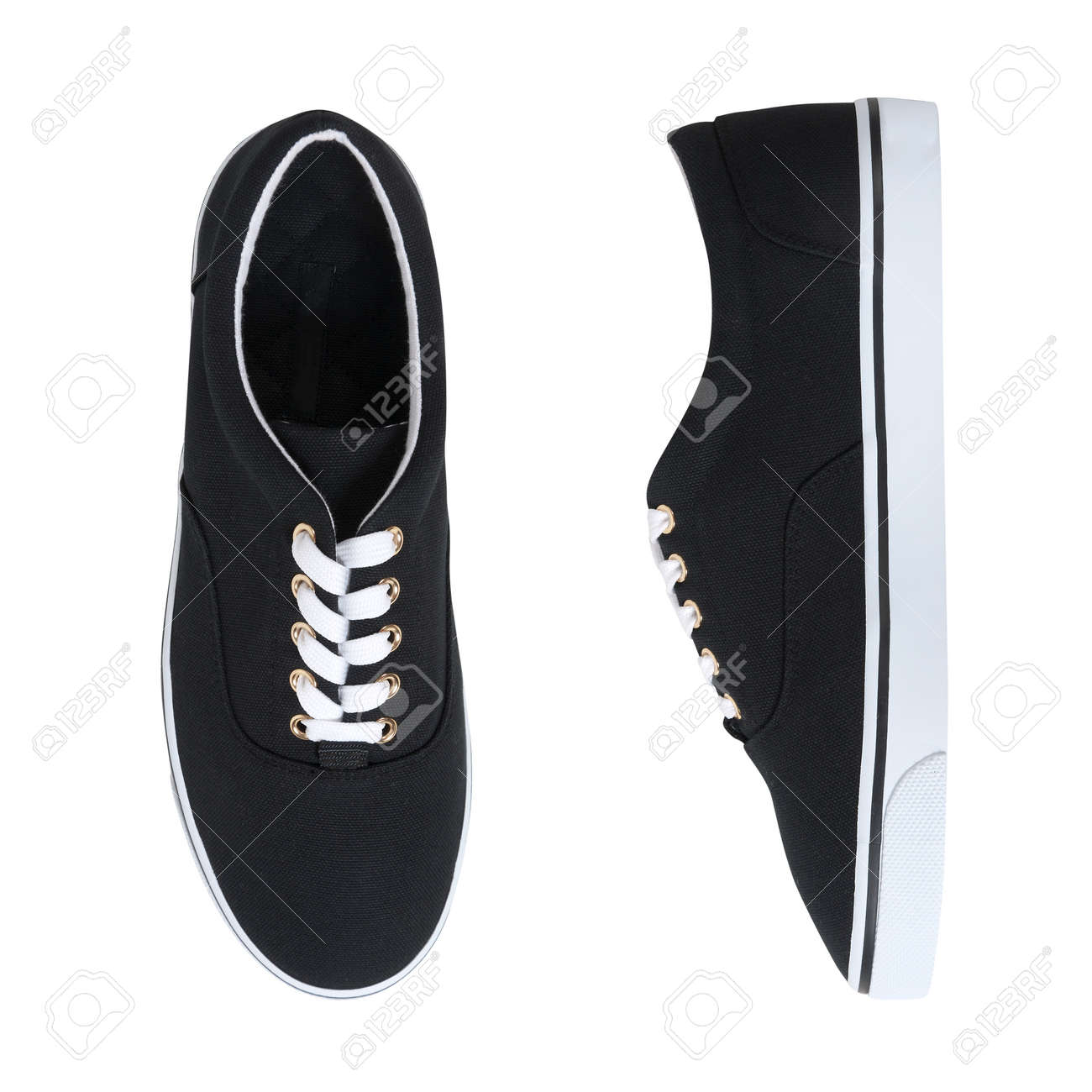 black sneakers with white soles