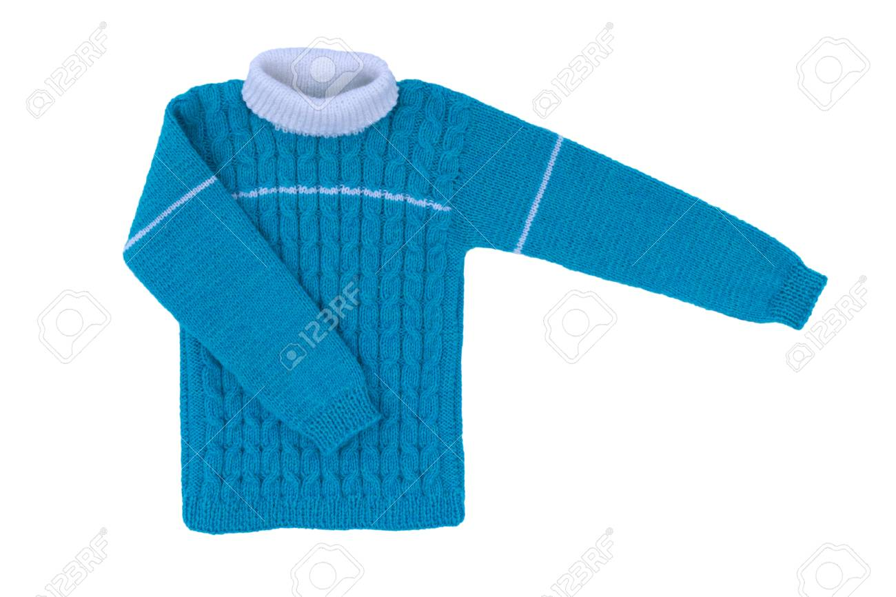 9b6422595254 Sweater Knit Children Isolate On White Background. Warm Blue.. Stock ...