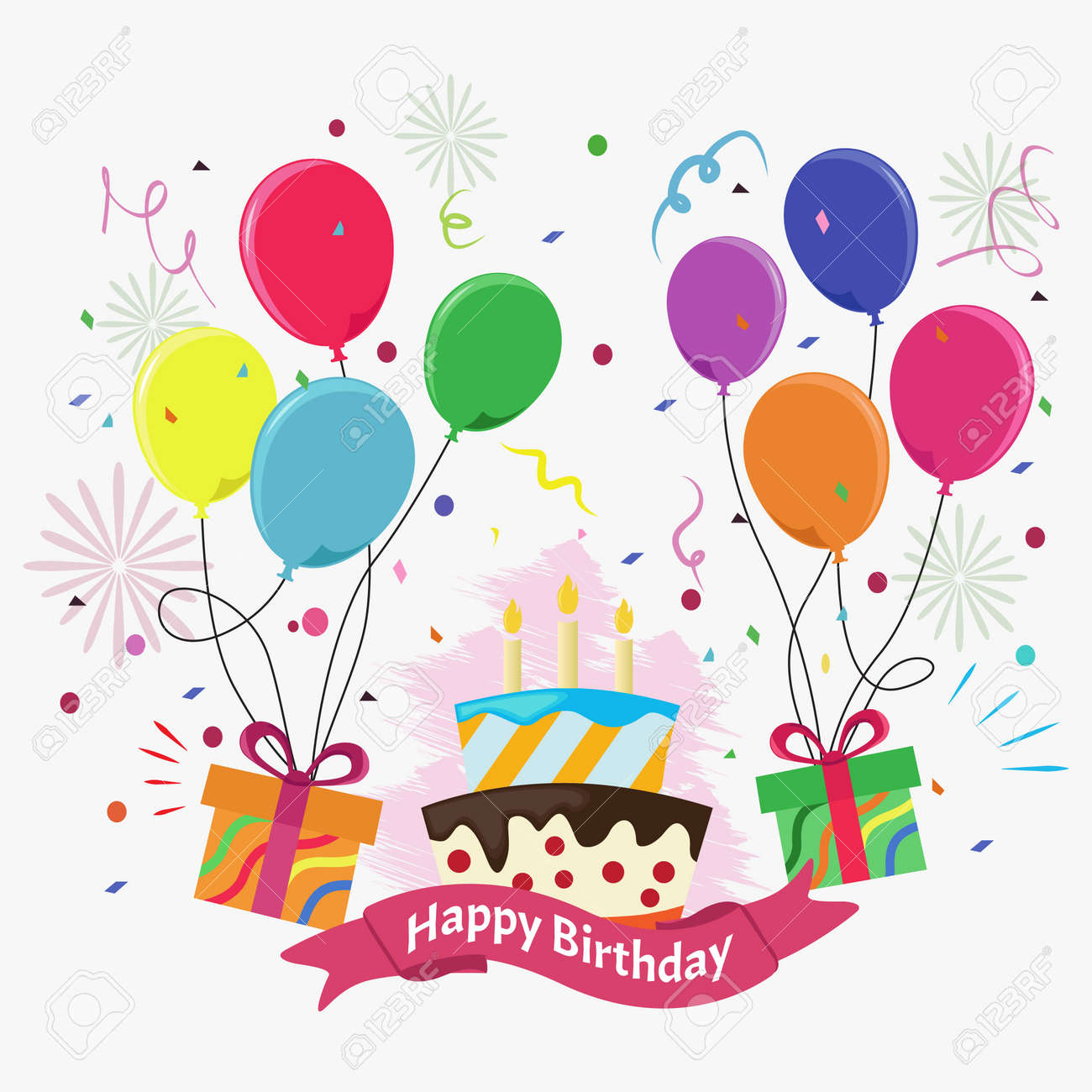 Cute Birthday Card With Cake Candles Gift Boxes And Balloons
