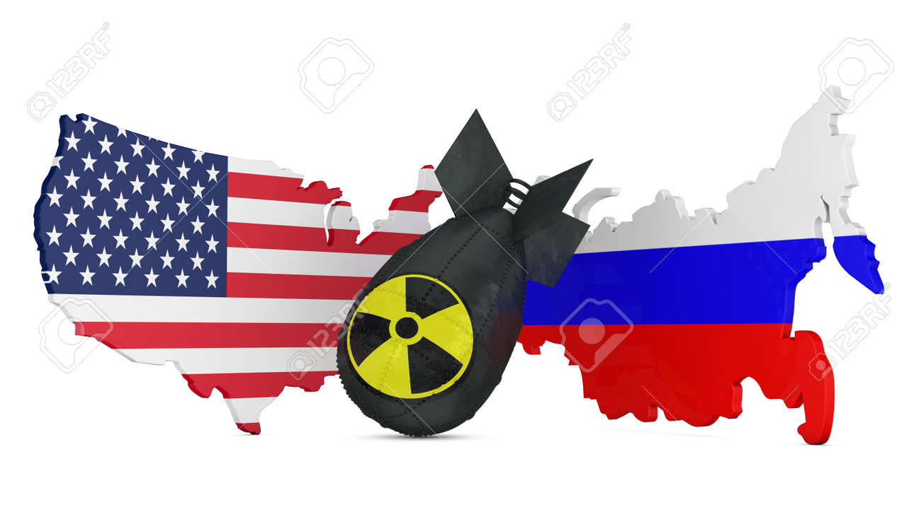 Black Bomb With The Radiation Sign On A Background Map With Flags ...