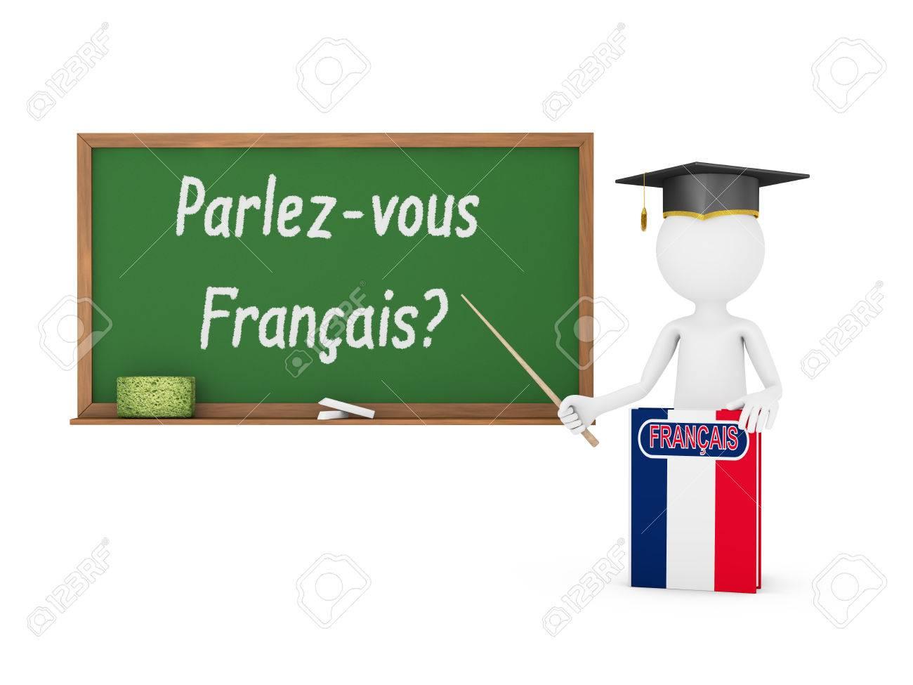 Man Livre Francais Avec Un Drapeau Et D Un Conseil De La Craie Sur Lequel Est Ecrit Vous Parlez D Un Francais