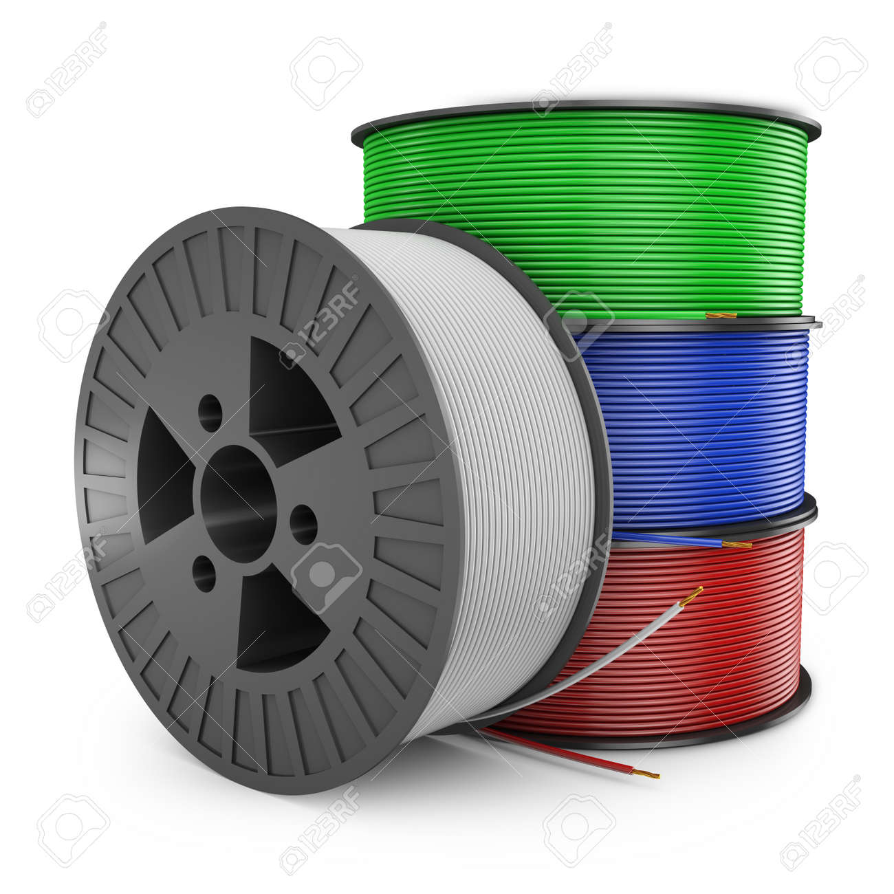 Four Plastic Reel With Colored Wires, 3d Render Stock Photo, Picture ...