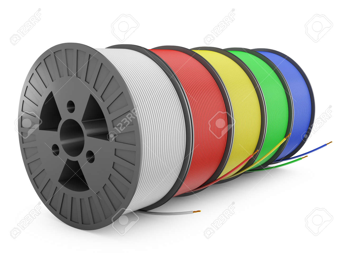 Five Plastic Reel With Colored Wires, 3d Render Stock Photo, Picture ...