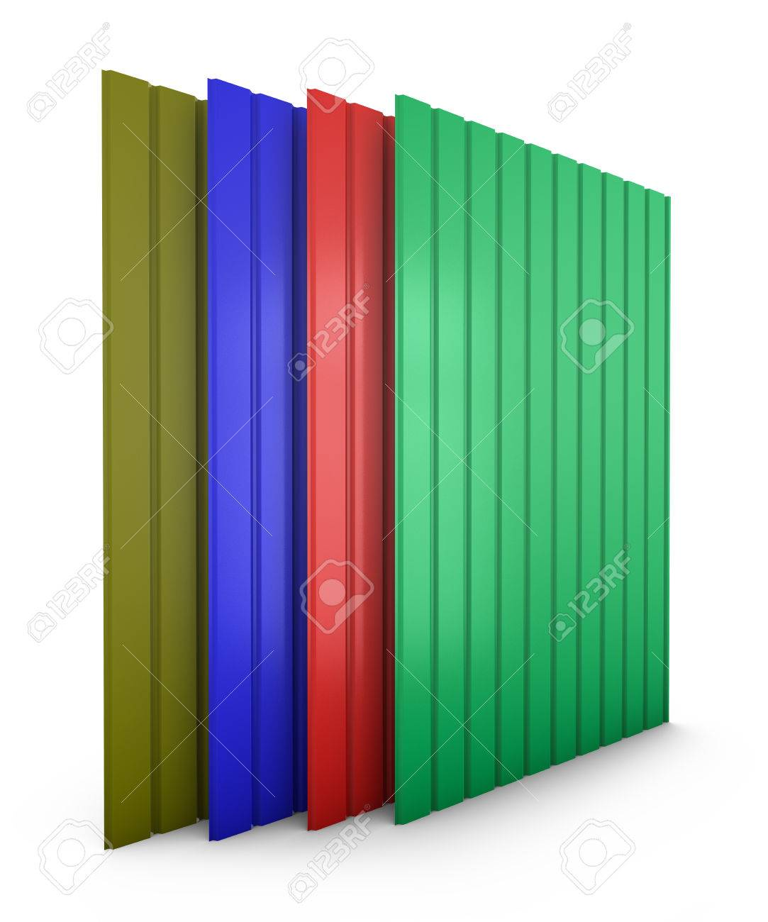 Una Pila De Hojas De Perfil Metálico De Color. 3d. Fotos, Retratos ...