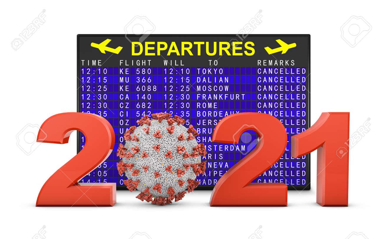 Coronavirus and 2021 volumetric figures next to the departure board. 3d render. - 157563839