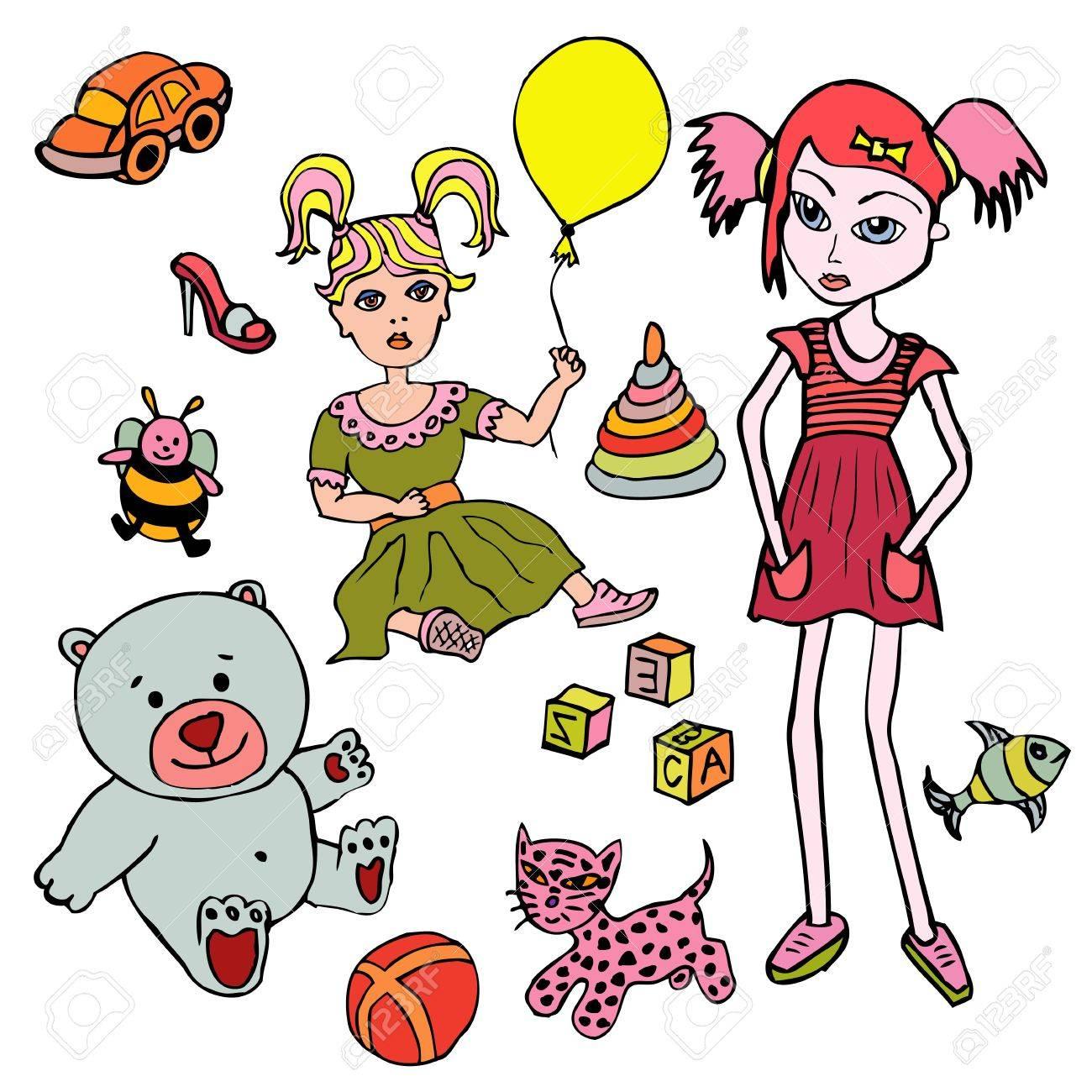 Katze Spielzeug, Spielzeug, Mädchen, Bär Lizenzfrei Nutzbare