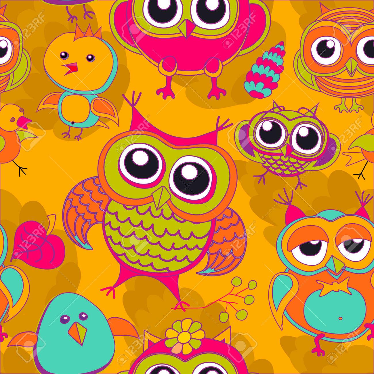 Hibou Oiseau Rose Arbre Animal Feuille Dessin Illustration