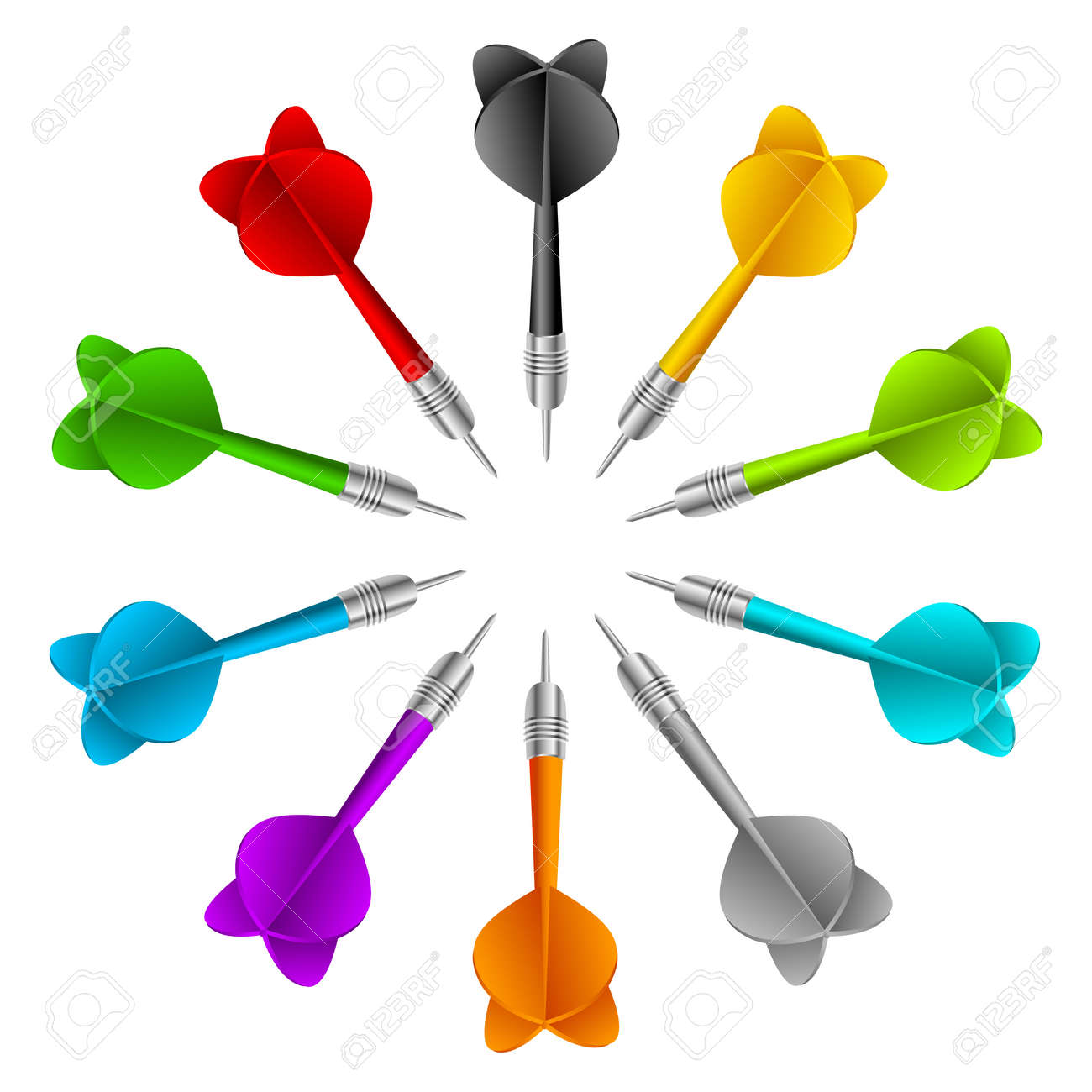set of darts vector color game concept sport royalty free