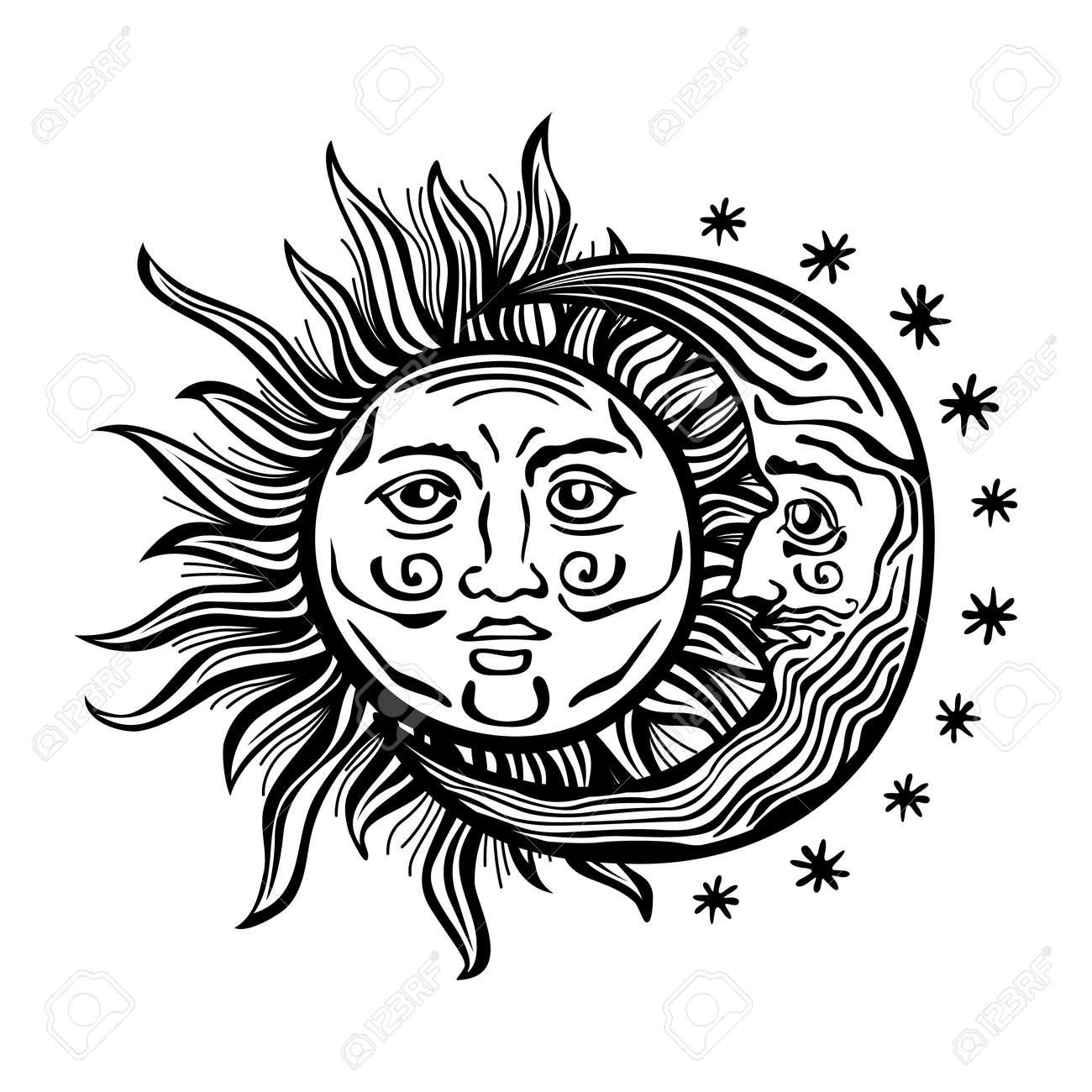 Una Ilustración De Dibujos Animados Al Estilo De Grabado De Un Sol