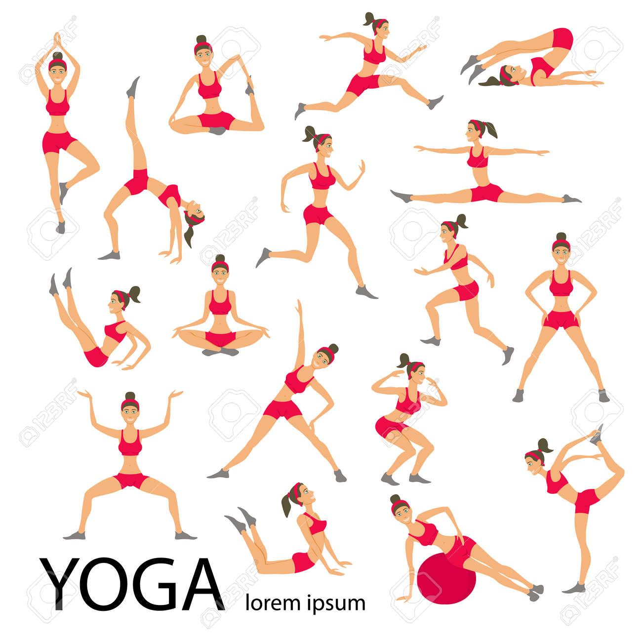 Vector Yoga Illustration. Yoga Set. Yoga Exercises. Women Yoga ...