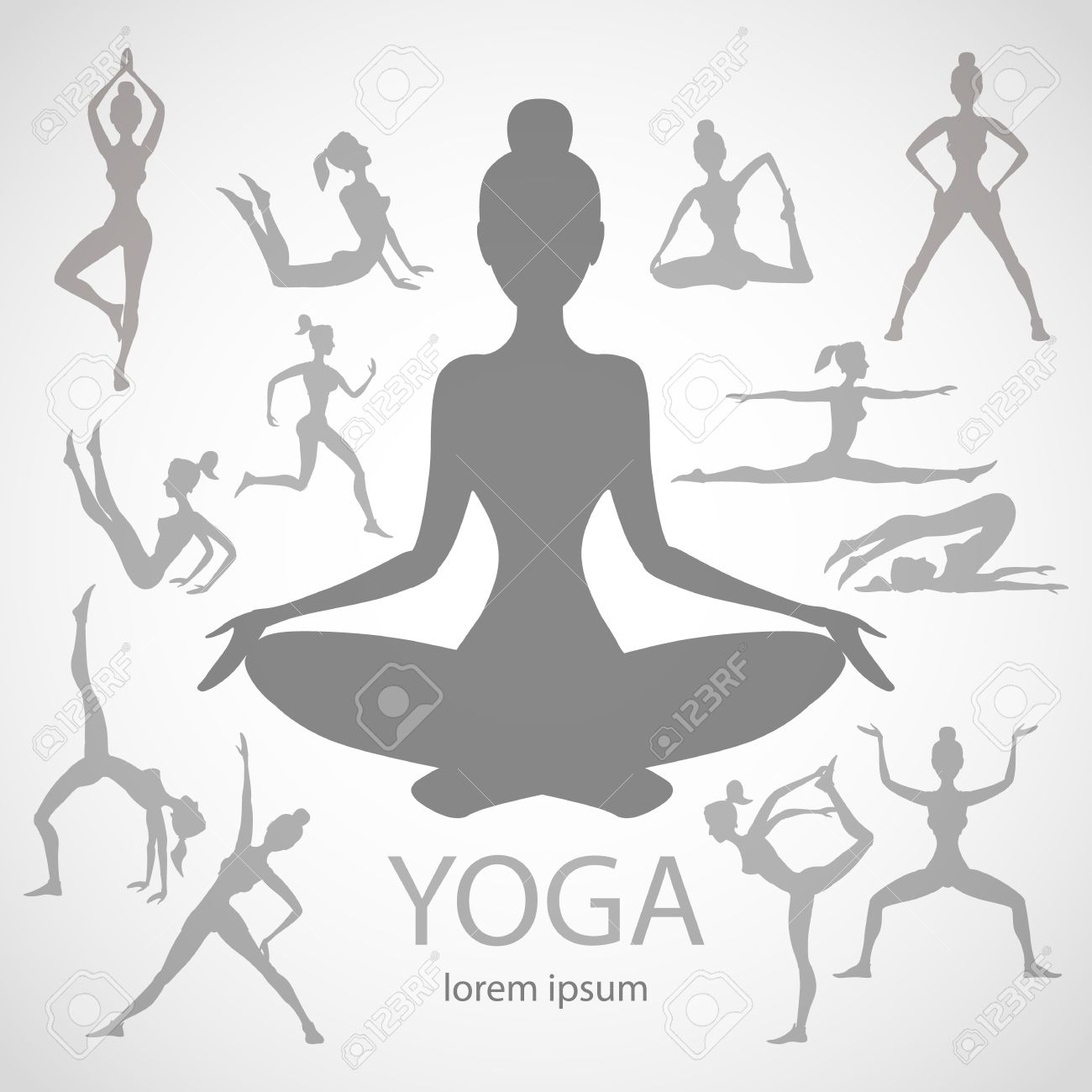 Yoga Poses Silhouettes Vector Body Pose Female Art Black Royalty Free Cliparts Vectors And Stock Illustration Image 40102825