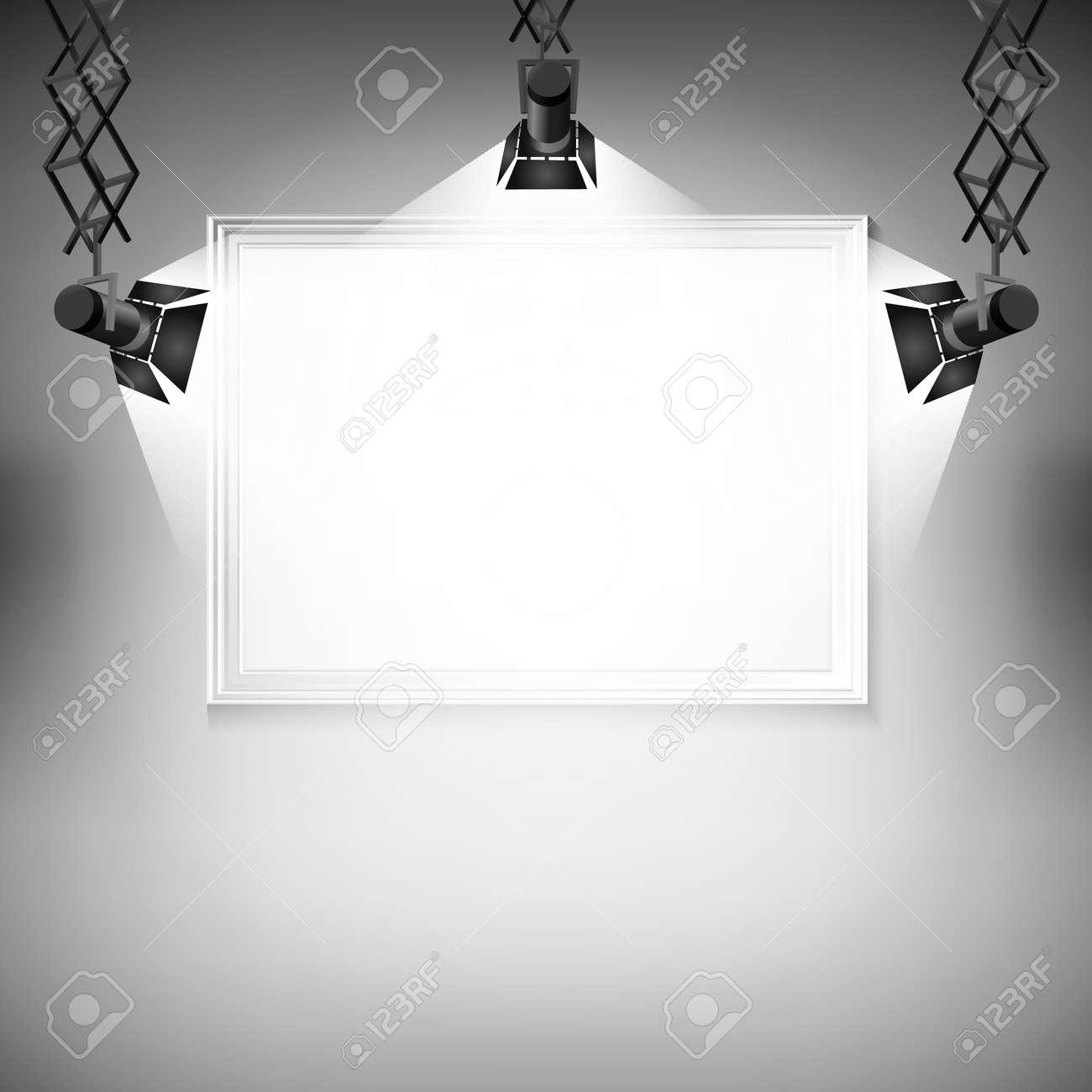 Pared Con La Imagen Vectorial Ilustración Proyector Punto De Luz De ...