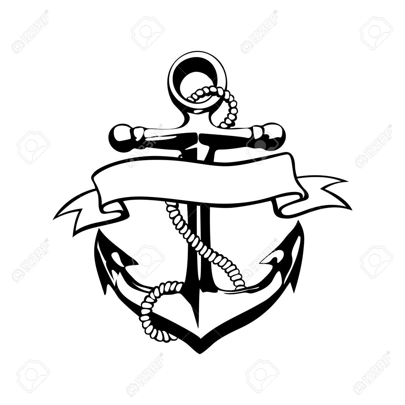 Grunge Diseño Del Ancla Del Icono Del Vector Del Tatuaje Logotipo