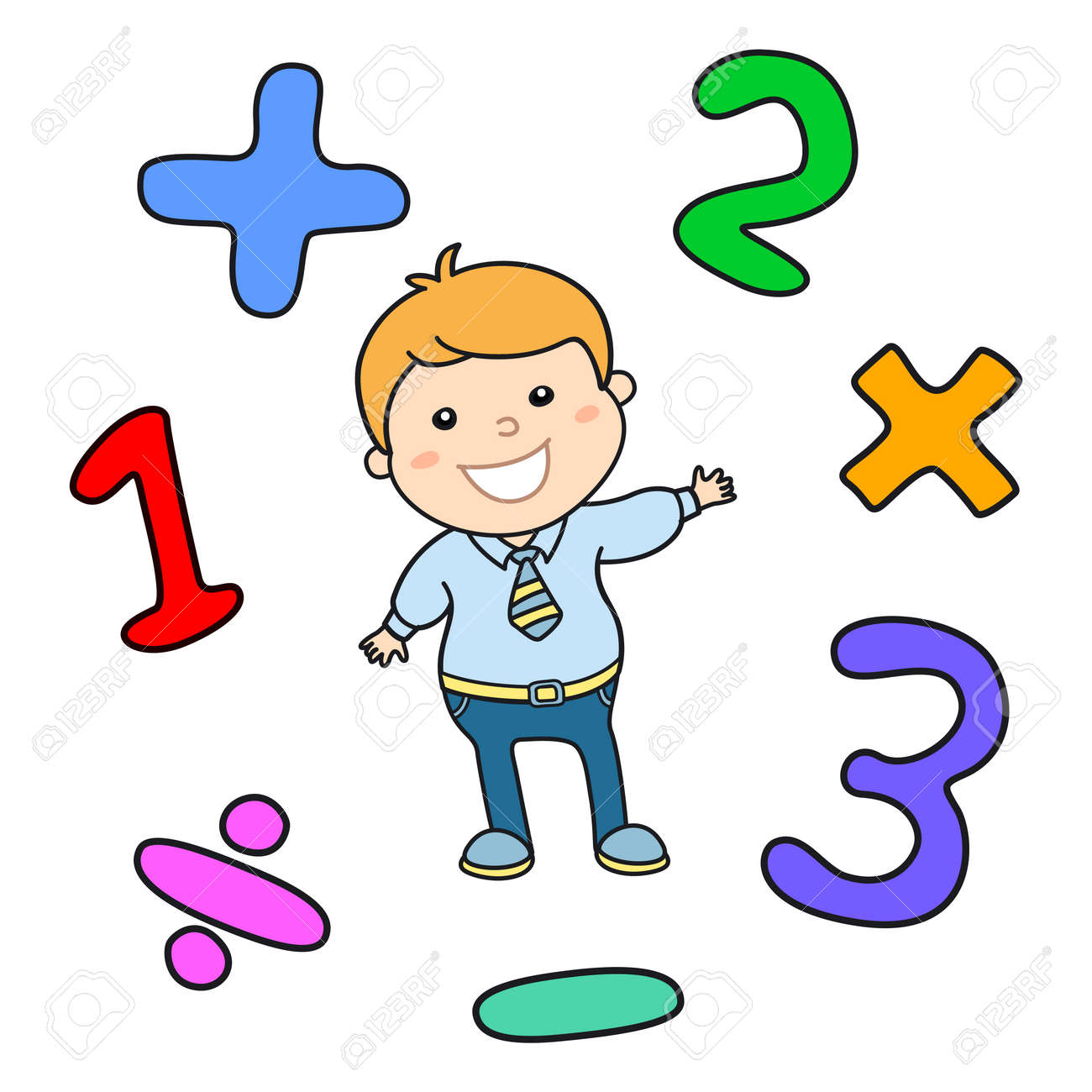 cartoon style math learning game illustration. mathematical