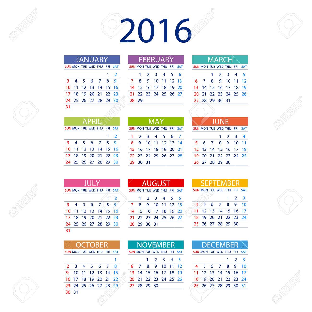 2016 Calendar Simple Design Art Vector Date Template Month Royalty