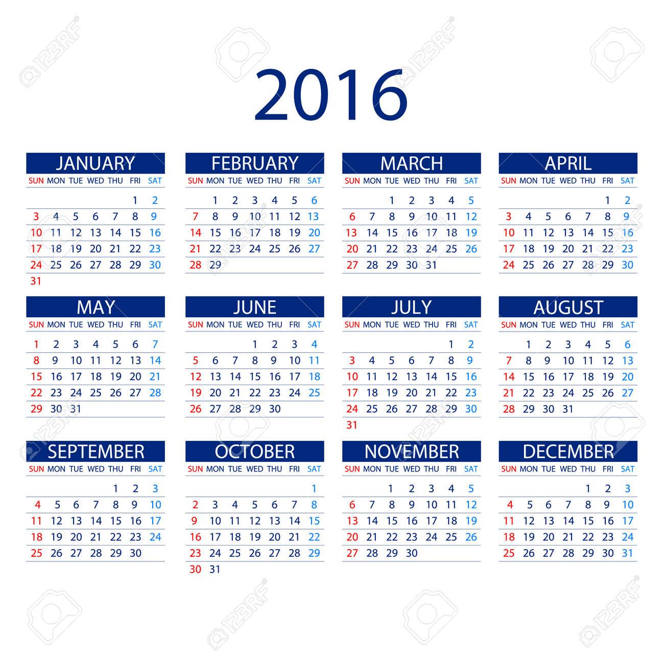 白い背景の 2016 年のカレンダーです月曜始まり単純なベクトル テンプレート アート