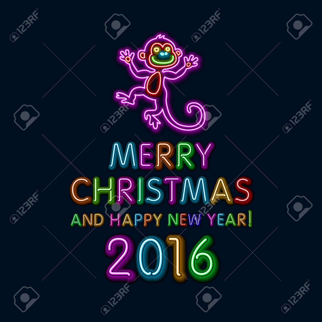 vector vector illustration of 2016 new year outline neon light background for design website banner holiday party element template