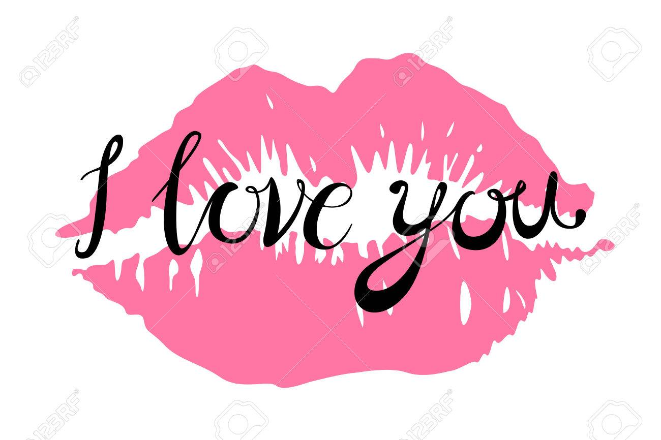 i Love you kiss red lips vector pink art - 51544055