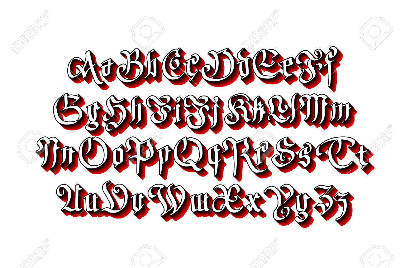 Blackletter Gothic Script Hand Drawn Font Art Vector Stock