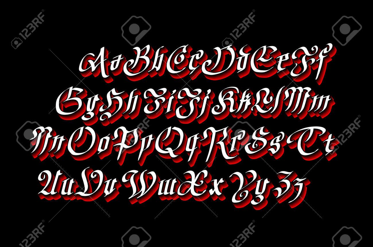 Vintage Gothic Old Style Typeface On Dark Background Art Royalty
