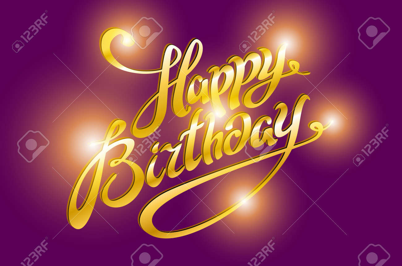 Happy Birthday Retro Vector Illustration With Lights In Background Art Stock
