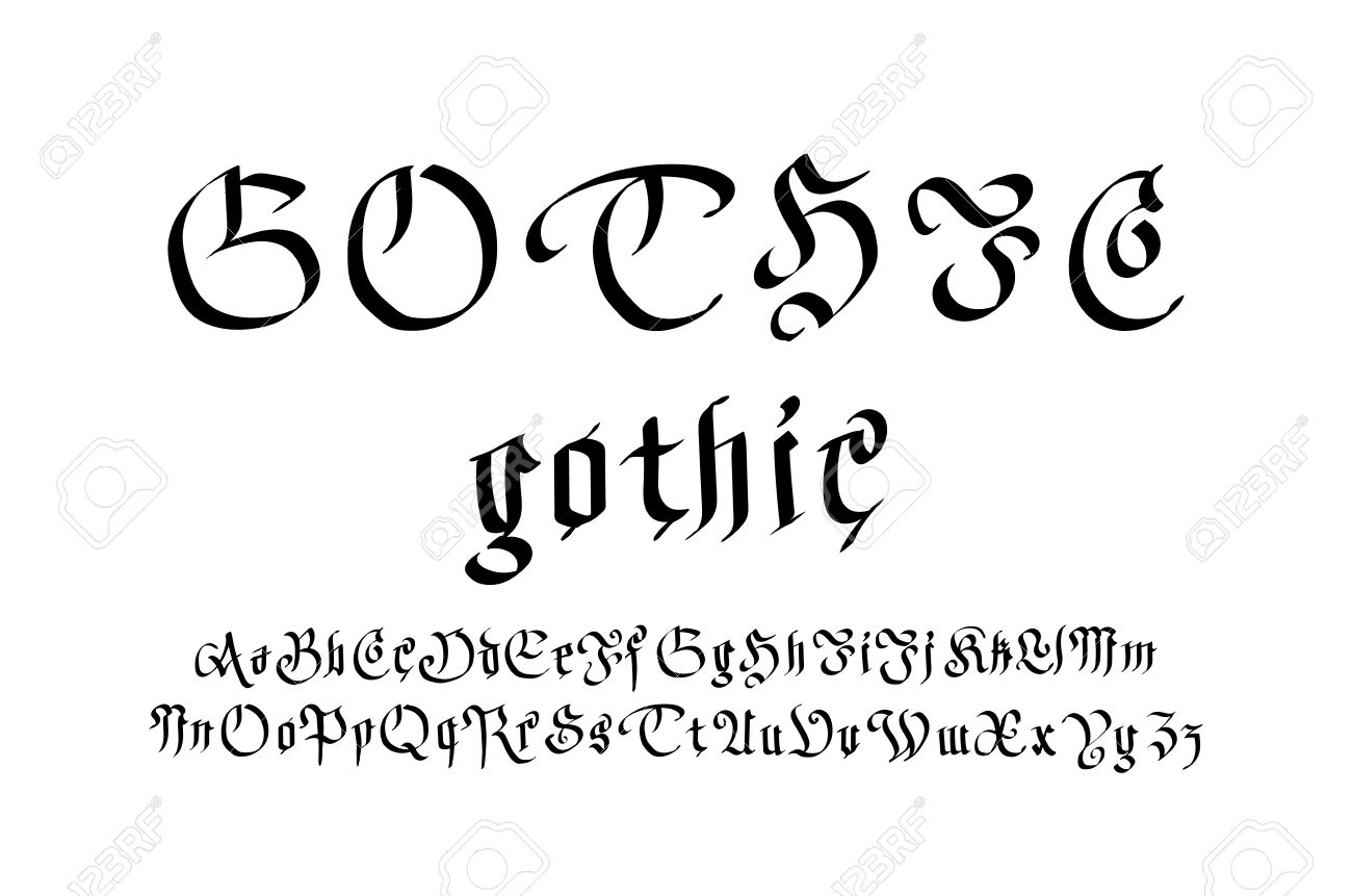 Modern Gothic Style Font Letters Art Vector Stock