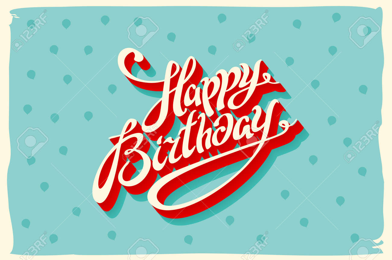 Vintage retro happy birthday card, with fonts, grunge frame and chevrons seamless background. art vector - 53366603