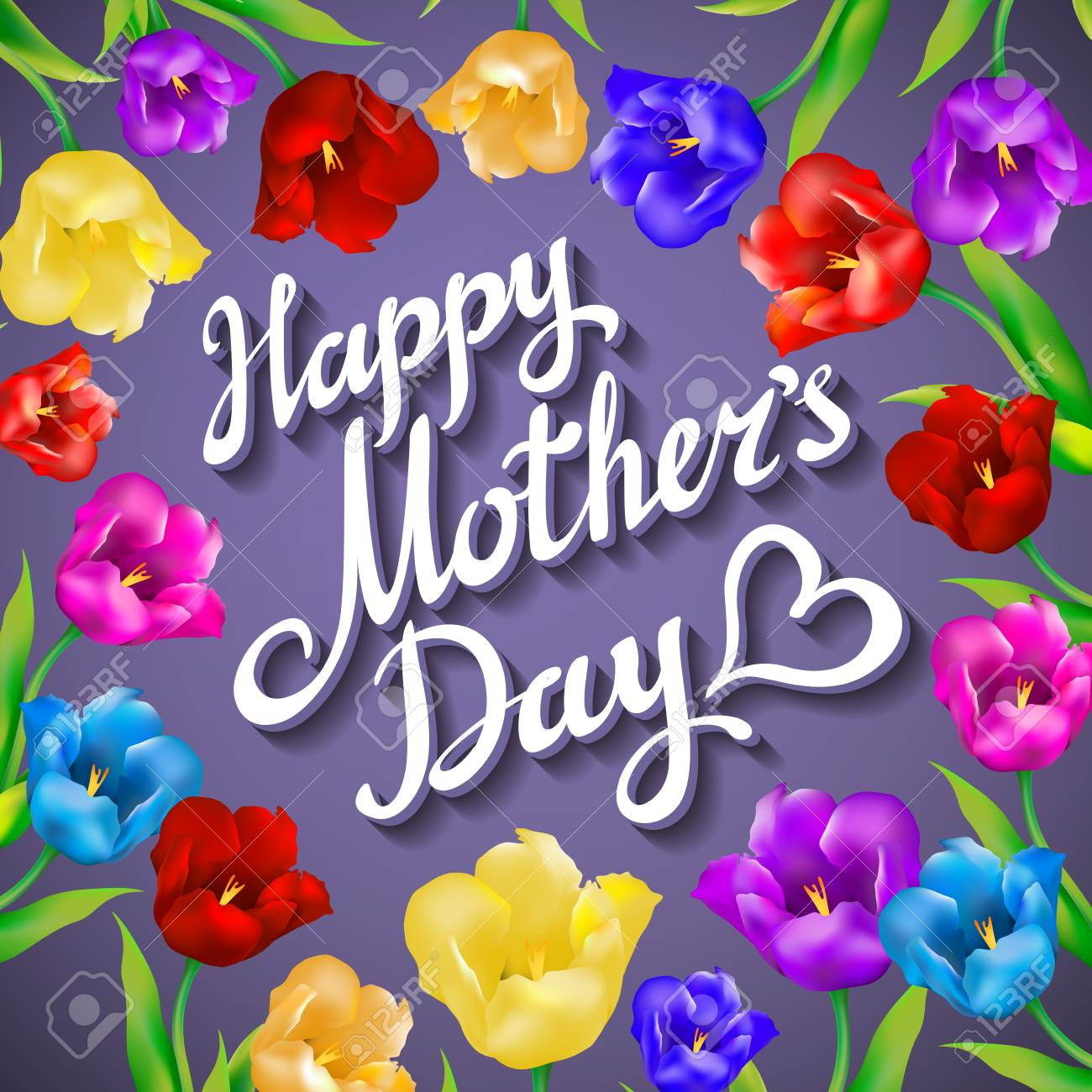 Gift Card For Mother S Day With Spring Flower On Violet Background Royalty Free Cliparts Vectors And Stock Illustration Image 55812834