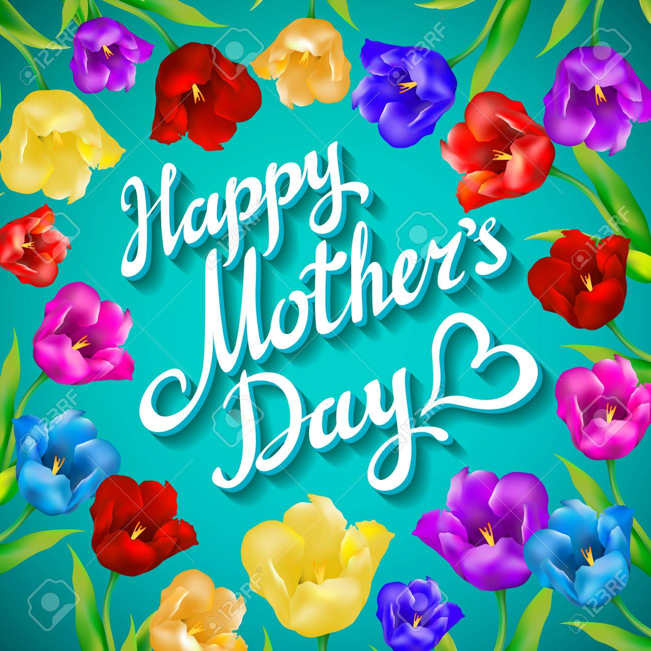 Colorful tulips on turquoise background with greeting message happy banco de imagens colorful tulips on turquoise background with greeting message happy mothers day background vector art m4hsunfo