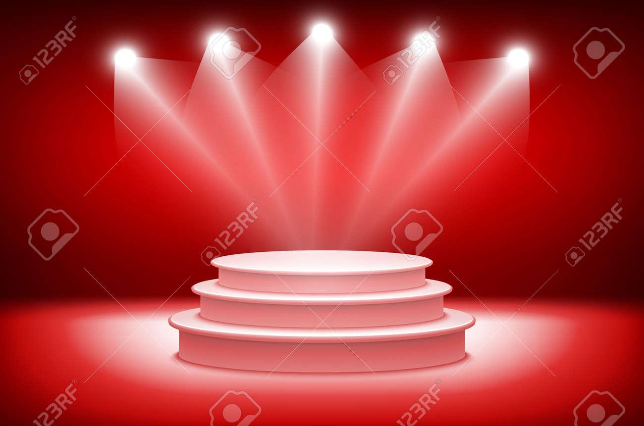 fondo d teatral escena y cortinas rojas podium rojo sobre un fondo de cortinas