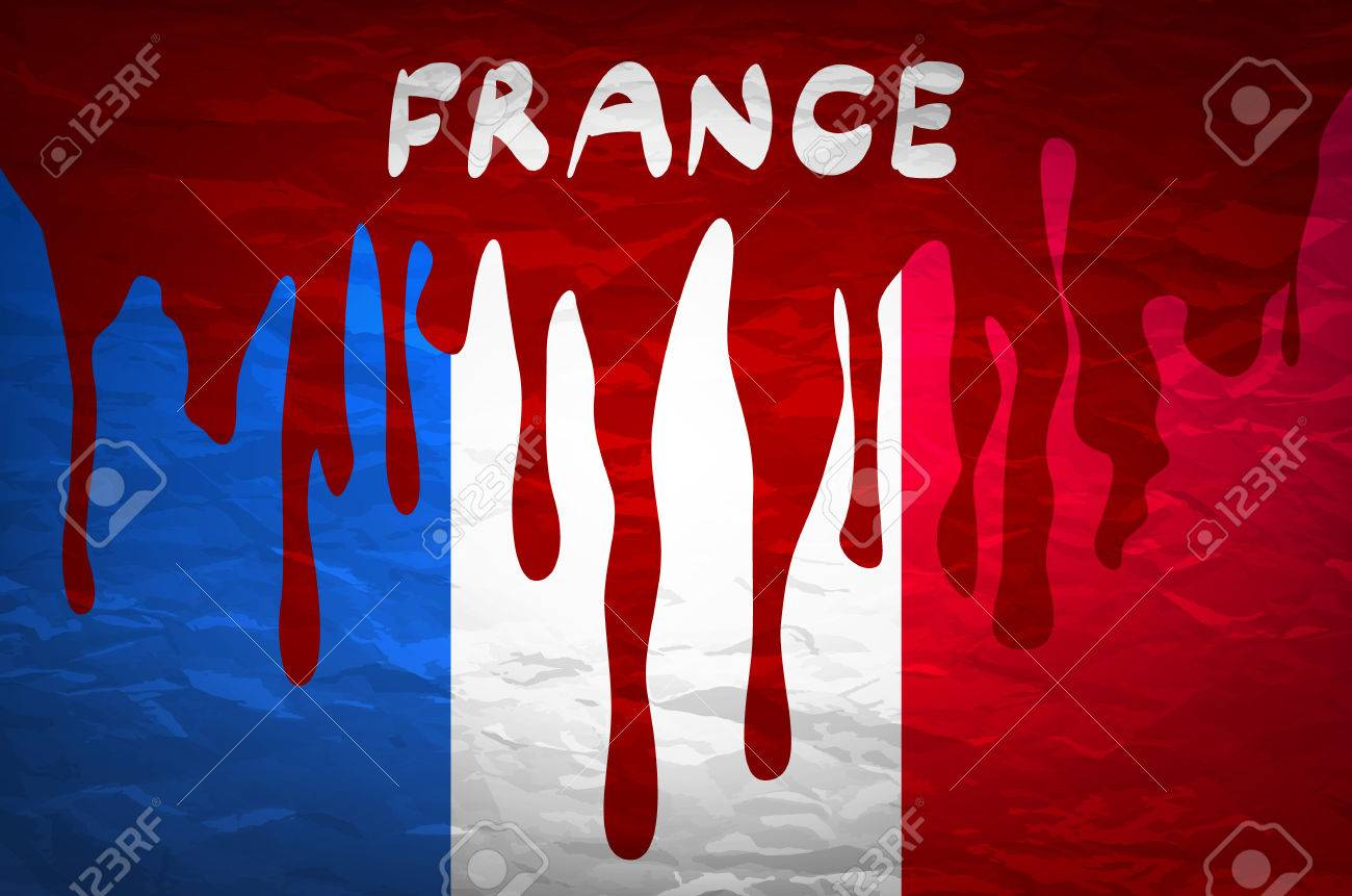 flag france in concept. the blood flowing on the french flag