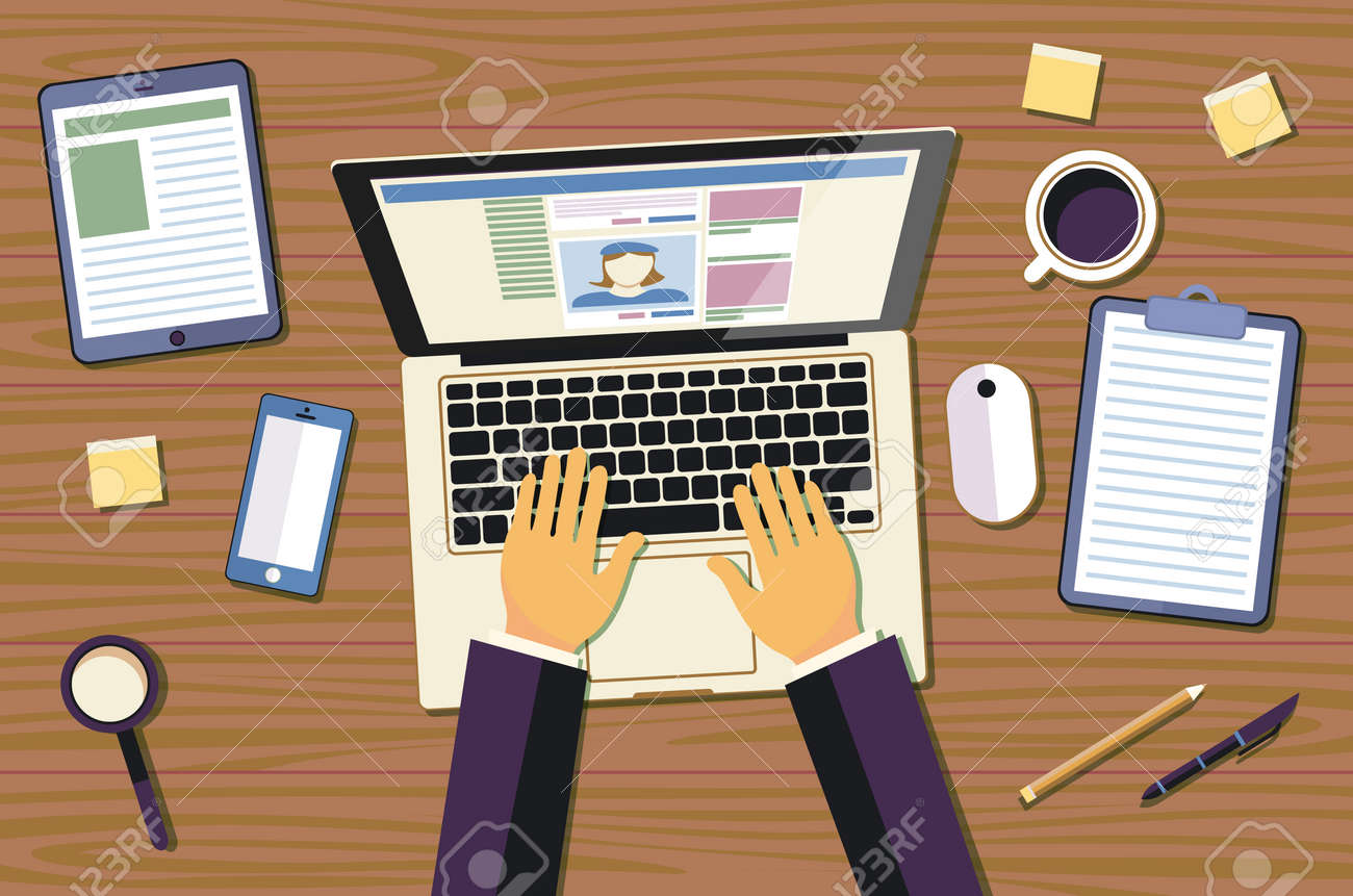 Professional Creative Graphic Designer Working At Office Desk He Is Designing A Vector Illustration Using
