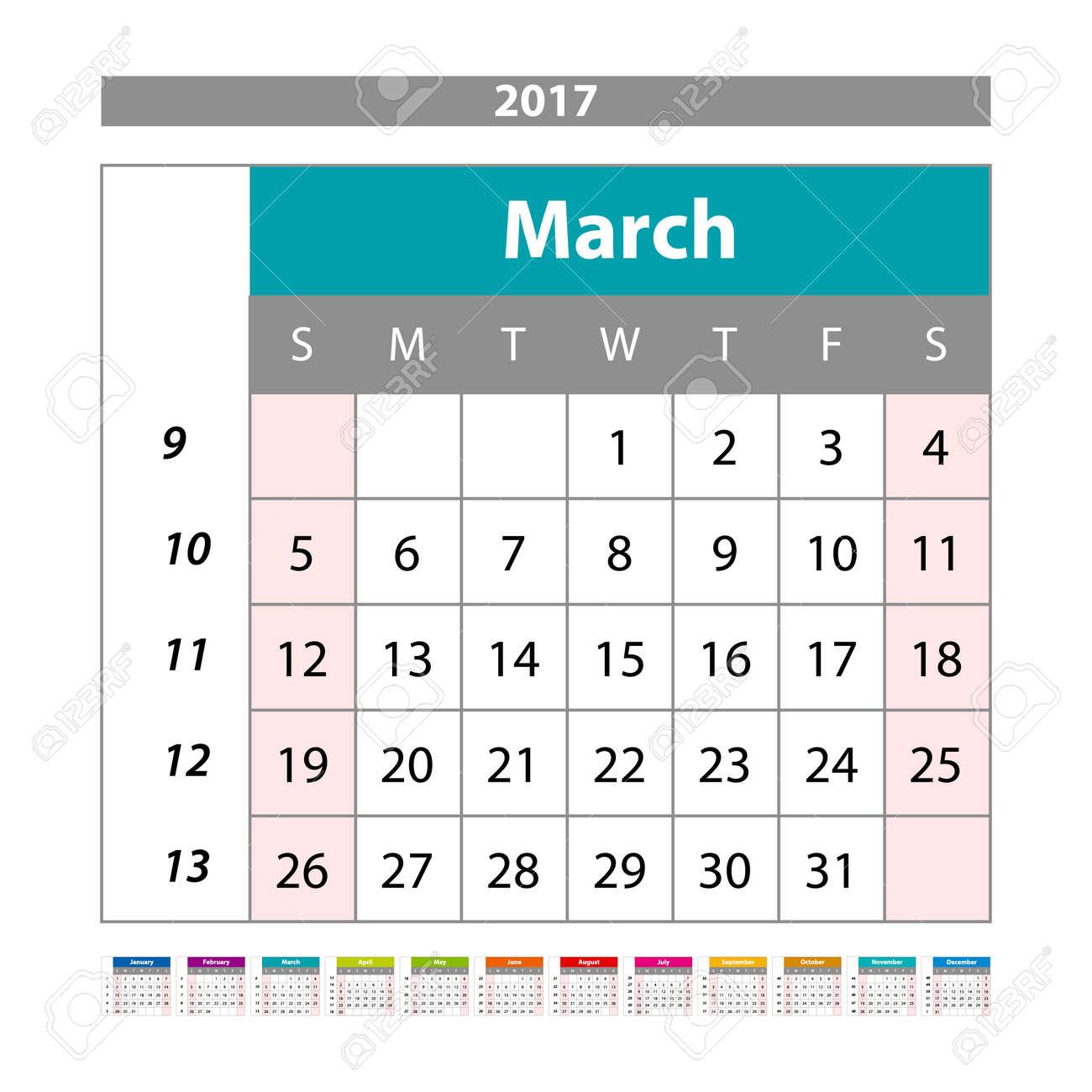 simple digital calendar for march 2017 vector printable calendar monthly scheduler week starts