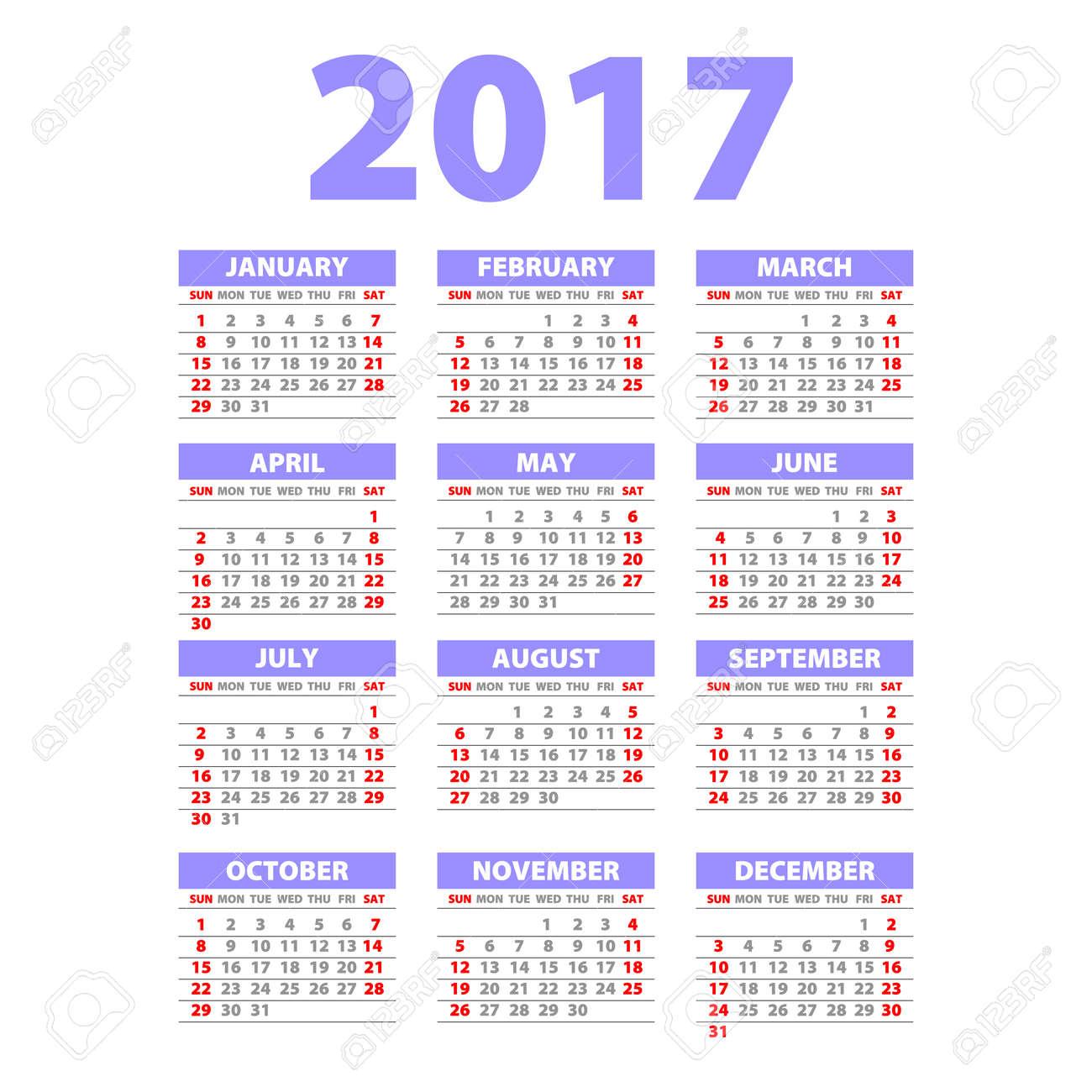 Calendario Completo.Estilo De Papel Plantilla 2017 Calendario Completo Diseno Del Cartel De Promocion La Semana Comienza El Arte Domingo Violeta