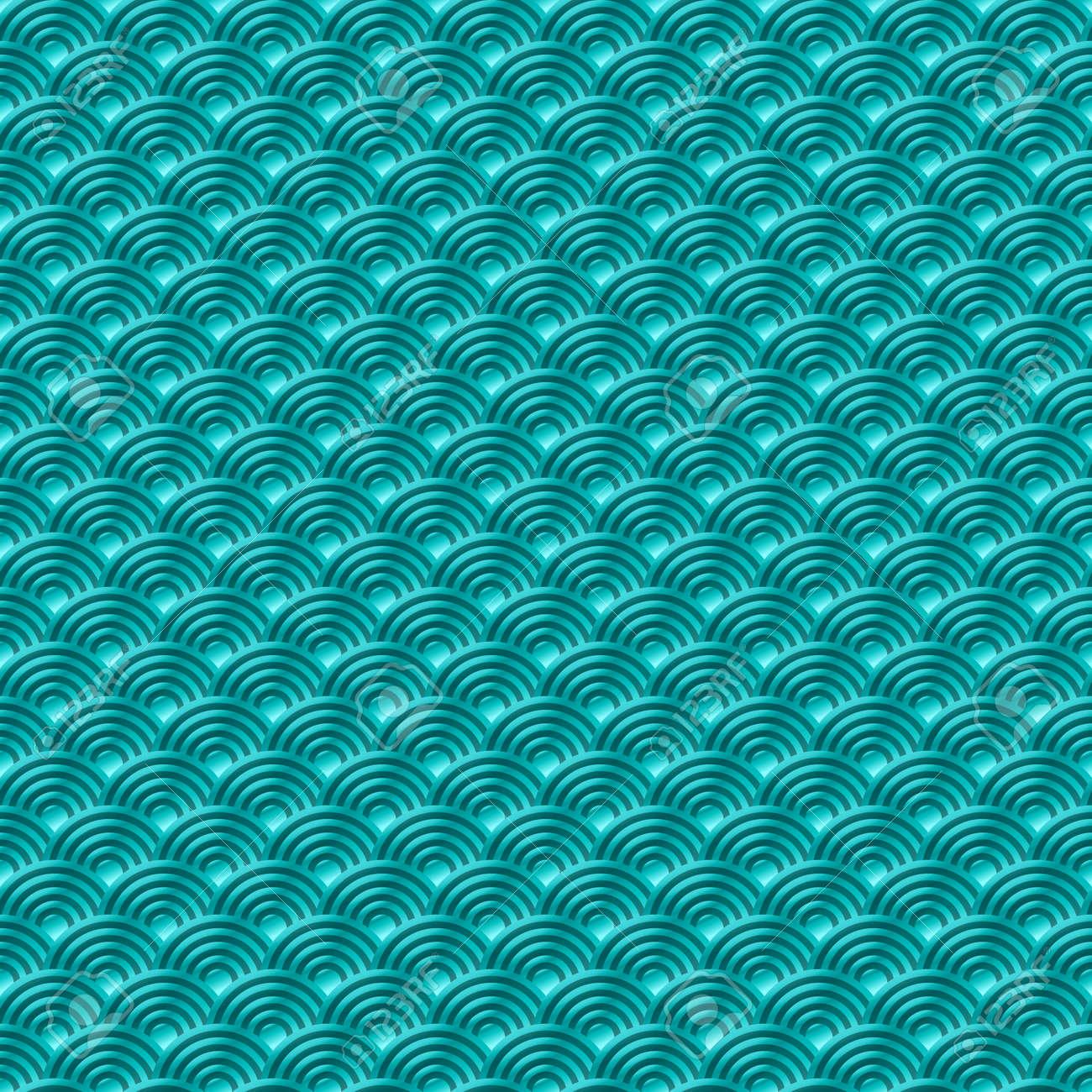 Vettoriale Cinese Blu Senza Soluzione Di Continuità Di Pesce