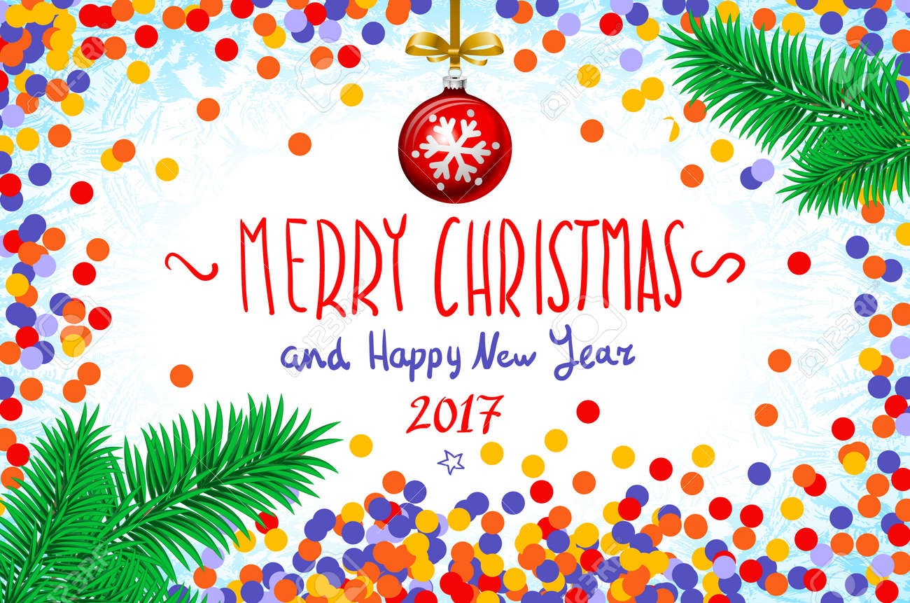 Merry Christmas And Happy New Year 2016 Greeting Card Vector