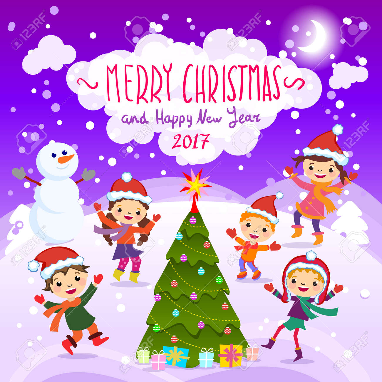 d3d022927a61e Stylish and bright Merry Christmas card in vector. Funny Elves dancing  under the snowfall.