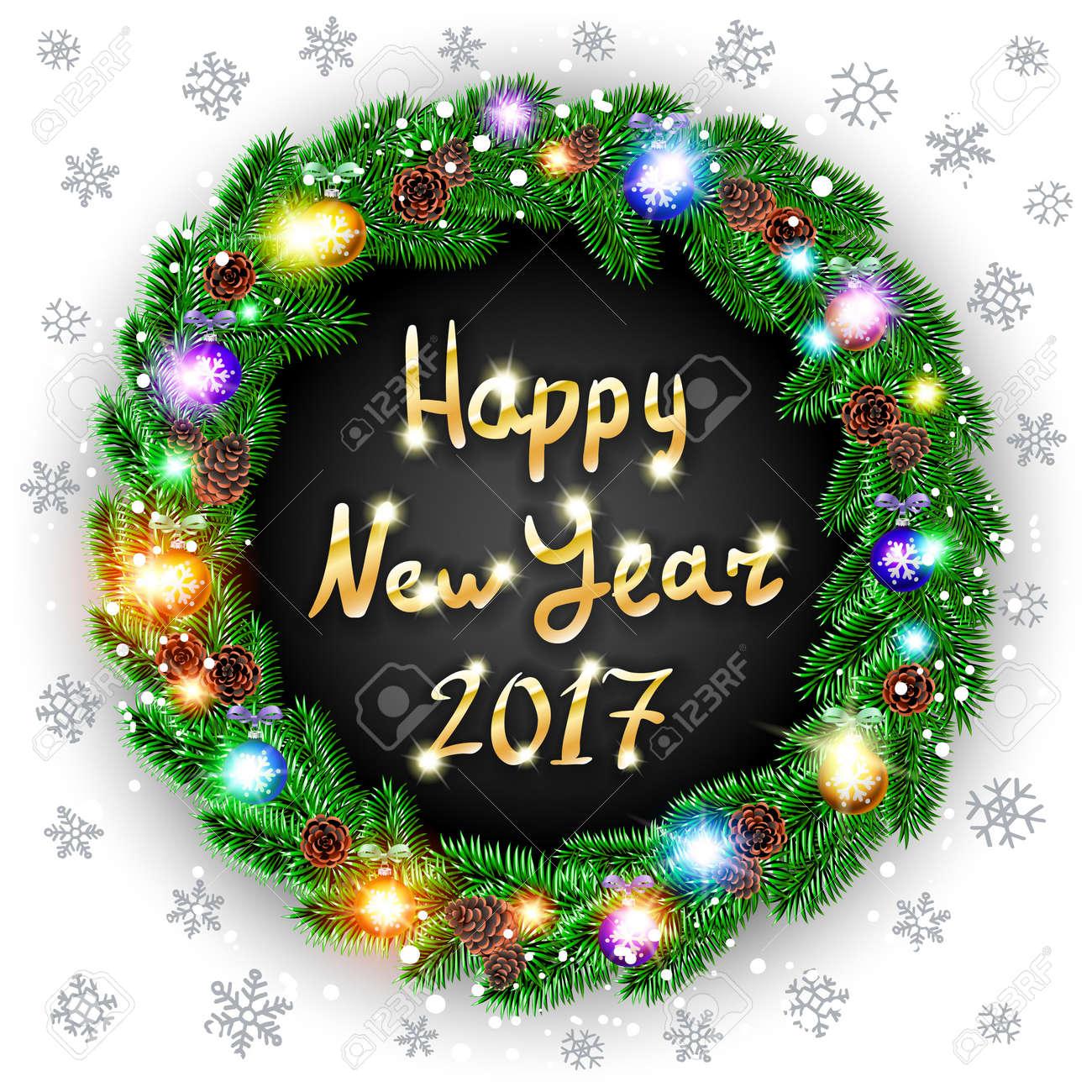 vector vector christmas happy new year 2017 green wreath background snow light art