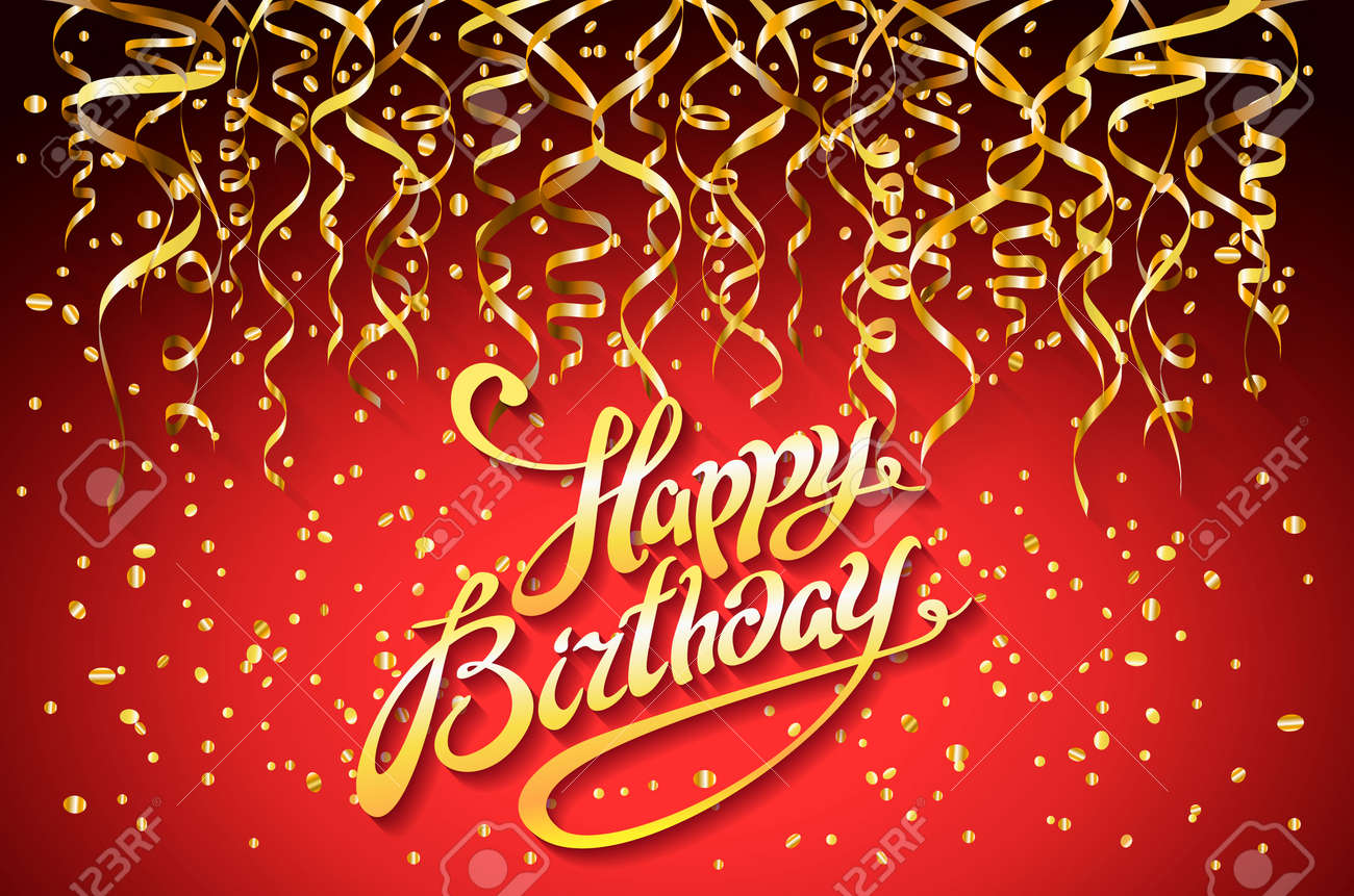 Vector Red Party Background Happy Birthday Celebration Design Royalty Free Cliparts Vectors And Stock Illustration Image 74277568