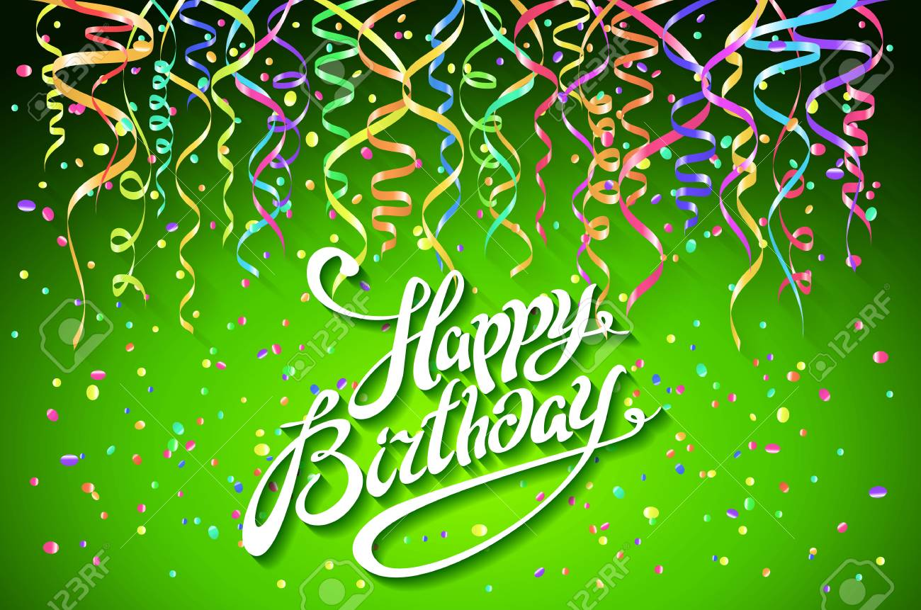 happy birthday green Vector Happy Birthday Card With Green Background With Colorful  happy birthday green