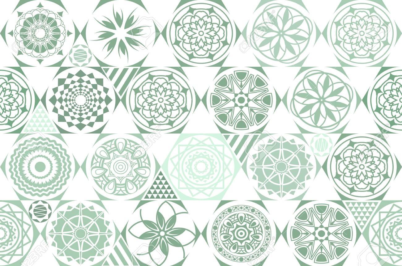 Modèles Sans Couture Rétro Vert Vecteur Différent. Carrelage ...