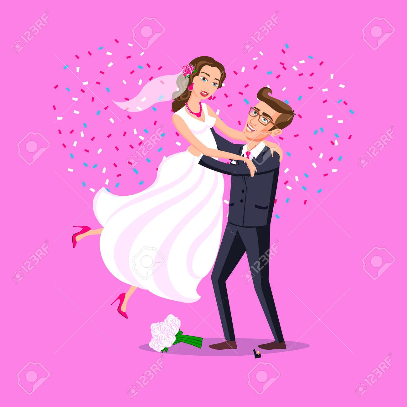 Recién Casados ??divertidos Pareja, La Novia Y El Novio Saltando ...