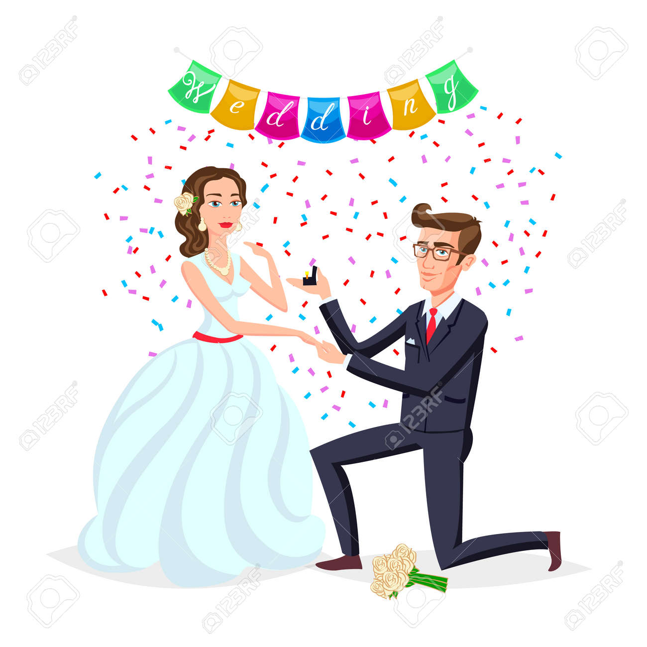 Bride And Groom As Love Wedding Couple Illustration Cartoon Royalty Free Cliparts Vectors And Stock Illustration Image 82513333