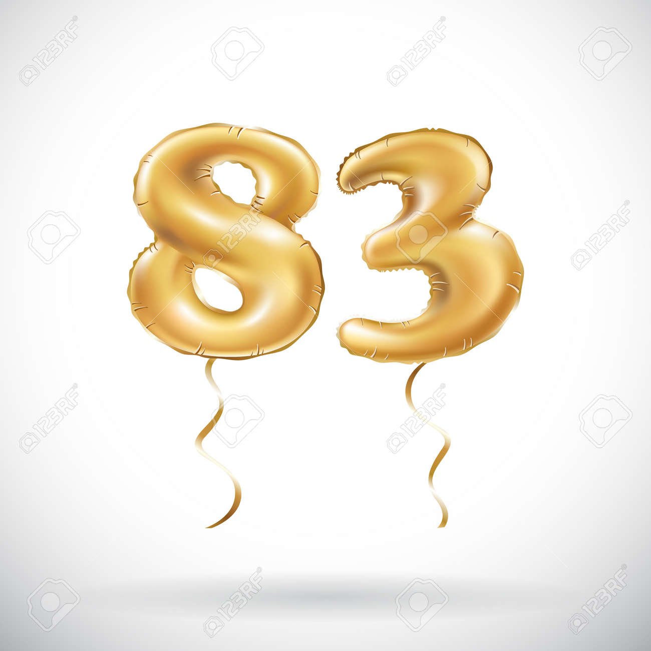 Vector Golden Number 83 Eighty Three Metallic Balloon Party Baloon Decoration Balloons Anniversary Sign For Happy Holiday Celebration Birthday