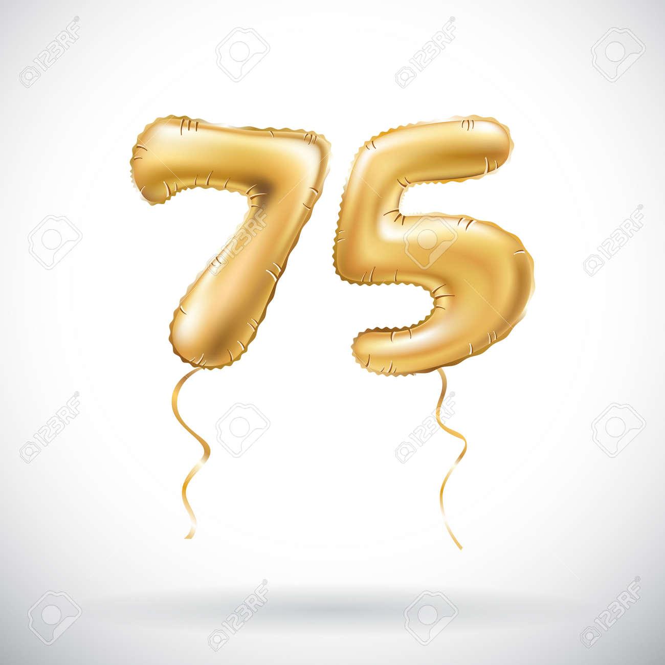 Vector Golden Number 75 Seventy Five Metallic Balloon Party