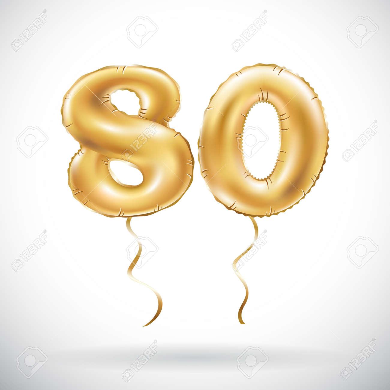 Vector Número De Oro 80 Ochenta Globos. Globos De Oro De La ...