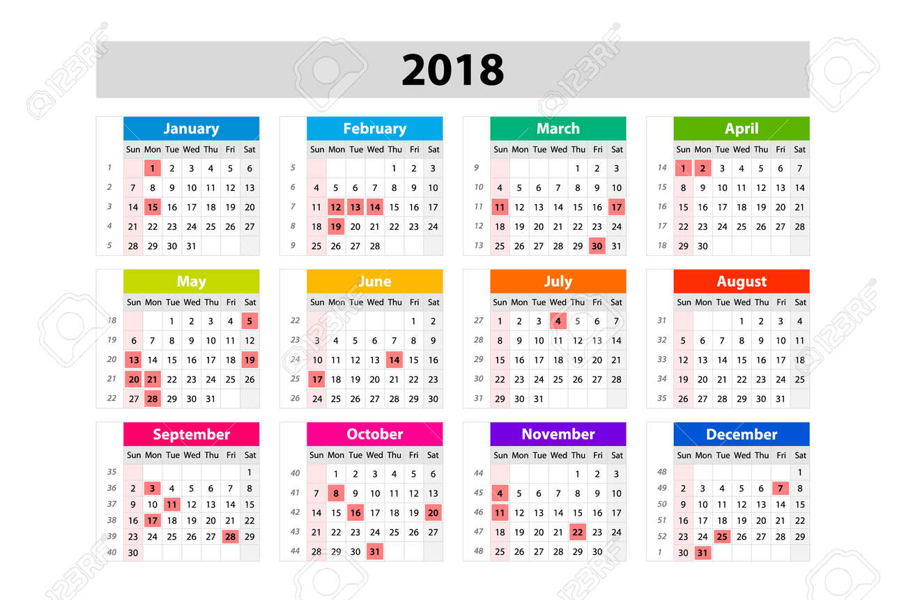 Usa Calendar 2018 Official Holidays And Non Working Days Royalty
