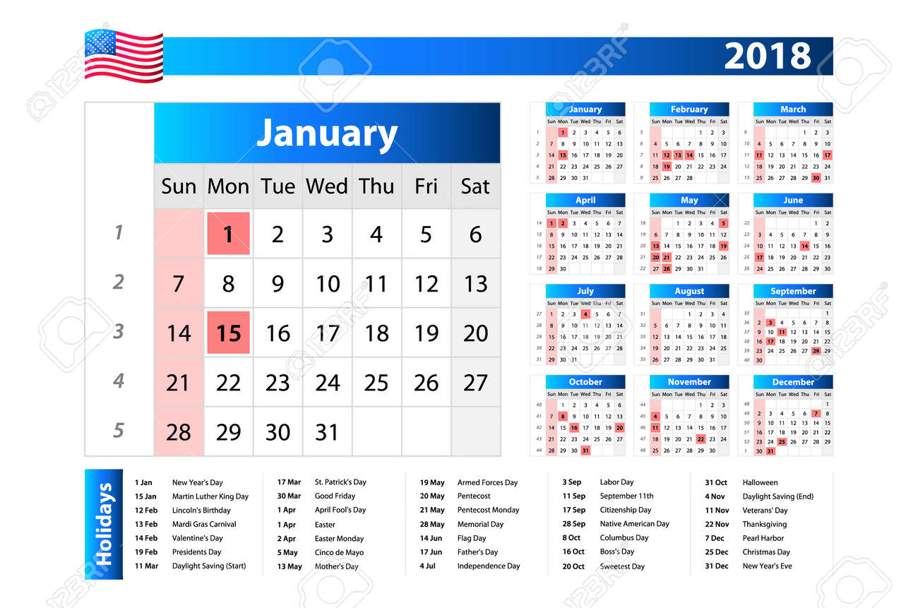 Calendario Con Week 2018.Usa Calendar 2018 Official Holidays And Non Working Days Week