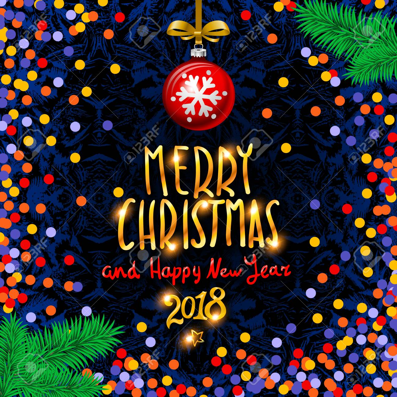 gold merry christmas and happy new year background with decoration on colorfull confetti vector typography